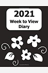 """2021 Weekly Diary: Large Print (Black Floral Cover) - 8"""" x 10"""" with Months, Important Dates & Week to View Planner - Simple layout. Large Print. Easy to use for visually impaired Paperback"""