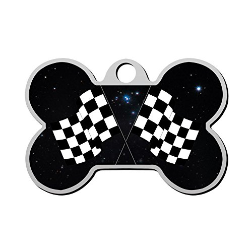 Reiligh Stainless Steel Anti-allergic Checkered Flag Customized Pet ID Dog Tag, Customizable Information Pet Badge for Dogs - Badges Checkered