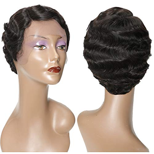 Finger Wave Wigs for Black Women Short Curly Lace Front Wigs Human Hair 150% Density Mommy Wig Brazilian Human Hair Short Pixie Cut Wig Virgin Hair Wig Fashion Style Natural Color (short lace wig)