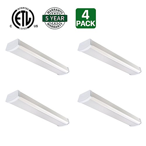 Cheap Hykolity 2ft 20W LED Garage Shop Light Wraparound Flushmount Commercial Office Ceiling Lamp 1400 Lumens 5000K Daylight White 36w Fluorescent Equivalent-Pack of 4