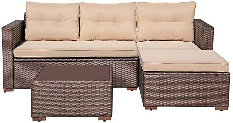 SUNSITT Outdoor Sectional Sofa 4 Piece Furniture Set Brown Wicker