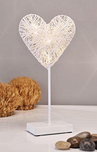 Dekoleuchte Herz - 10 LED warmweiß - Deko Lampe Tischlampe Dekoherz Tischleuchte