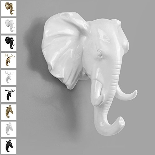 TraPal Elephant Head Single Decorative Coat Hook Wall Mounted Rustic Coat Rack Easy to Install Resin Animal Shape Clothes/Garment/Jacket Hanger (Elephant-White) Animal Shape Wall Hook