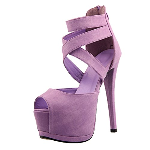 HooH Damen Peep Toe Riemchen Hollow Out Platform Stiletto Sandalen Lila
