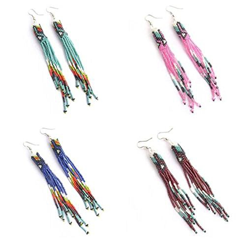 Viva Handmade Seed Multicolor Beaded Earrings Wholesale LOT 4 Pair Long Native Style E-54-7,8,9,10