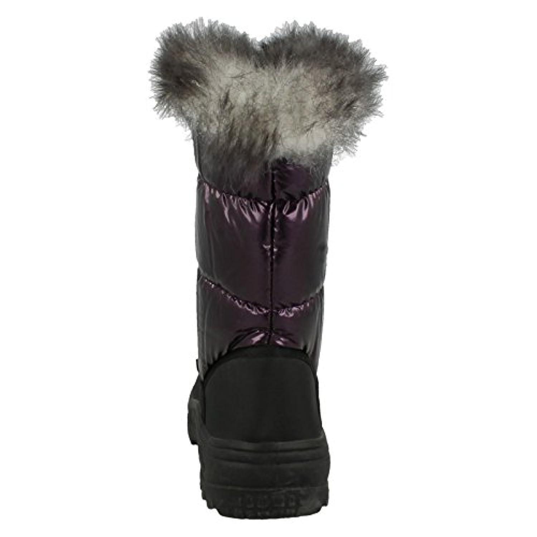 Girls Spot On Fur Lined Snow Boots - Purple Nylon - UK Size 1 Child - EU Size 33 - US Size 2