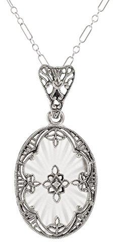 Antique Style Sunray Camphor Glass Filigree Diamond Pendant - Sterling Silver ()