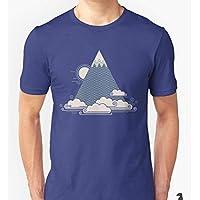 Camisa Camiseta Mascul Algodão Premium Montanha Nuvens Alpes Desenho impresso:Montanha/Preto;Tamanho:GG