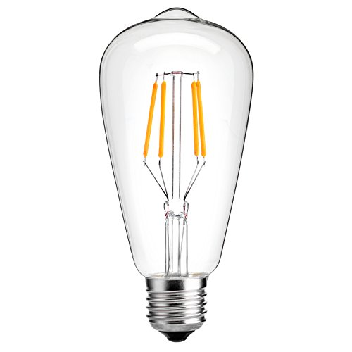 LEDesign 8002682134 Dimmable Edison ST21 LED Vintage Filament Light Bulbs, 6.5W (60W Equivalent), 800 Lumen, 2700K (Soft Warm White), E26 Base, IC Driver, CRI 80+ (Pack of 6) (1 Bulb Leaf)