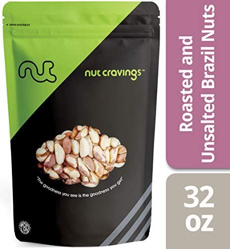 Nut Cravings - Brazil Nuts Roasted & Unsalted (2 Pounds) - Whole, Roasted, Unsalted, No Shell Brazilian Nuts - 32 Ounce