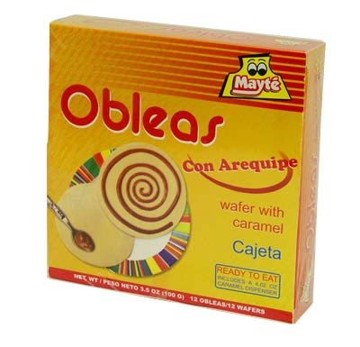 MAYTE 12 Obleas con Arequipe 100 grs. / 12 Wafers with Milk Caramel 3.5 oz. (Colombian Products Food)