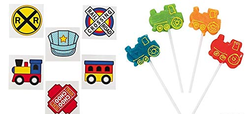 (12 pc Train Lollipops and Tattoos Set)