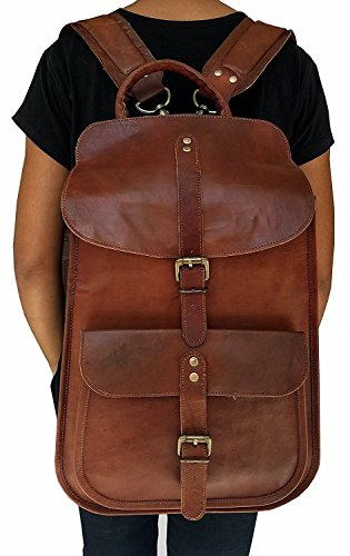 Leather Native 17'' VINTAGE Leather Backpack School College Macbook Laptop Computer Backpack by Leather Native