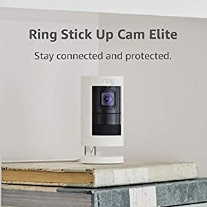 Ring Stick Up Cam Elite HD Security Camera with Two-Way Talk, Night Vision, Works with Alexa - White