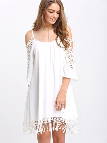 c92c4458241 Milumia Women s Summer Cold Shoulder Crochet Lace Sleeve Loose Beach Dress  at Amazon Women s Clothing store