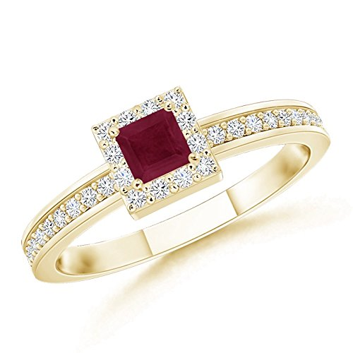 July Birthstone - Square Natural Ruby Stackable Ring for Women with Diamond Halo in 14K Yellow Gold (3mm Ruby)