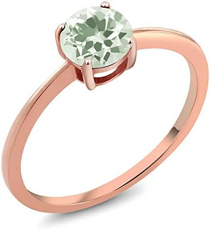 10K Yellow Gold 0.95 Ct Round Green Amethyst Rose Gold Ring