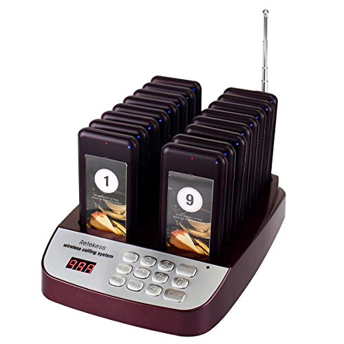 Digital Calling System - Retekess T-113S Wireless Calling System Restaurant Pager System Paging System Calling System with 16pcs Coaster Pagers and 1pc Call Button Keypad Transmitter for Restaurant Clinic Church Cafe Shop