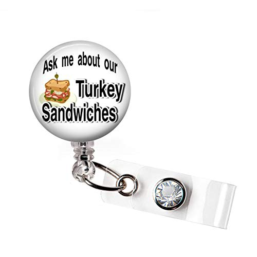Turkey Sandwich Badge Holder ; Retractable Badge Reel