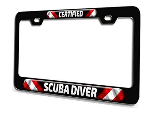 CERTIFIED SCUBA DIVER Scuba Diving Black Steel License Plate Frame 3D Style