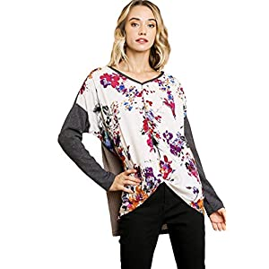 umgee USA Women's Long Sleeve Color Block Waffle Knit and Floral Print V-Neck Tunic with Knot Front Detail