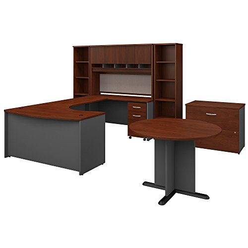 Bush Business Furniture Series C 60W Right Handed Bow Front U Shaped Desk with Storage and Conference Table in Hansen Cherry by Bush Business Furniture