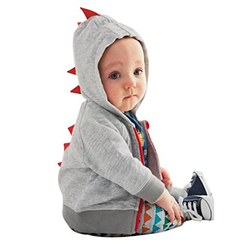 Sharemen Infant Toddler Baby Boy Girl Dinosaur Pattern Full Zip Hoodies Soft and Cozy Hooded Sweatshirts (3-6 Months, Gray)