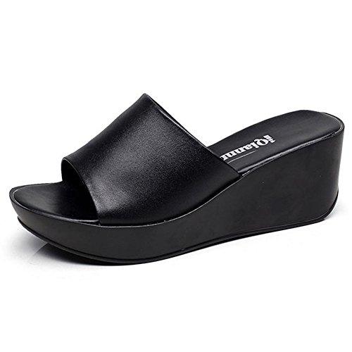 Btrada Women Casual Platform Slides Anti-Slip Slip on Wedge (Black Wedge Slide)