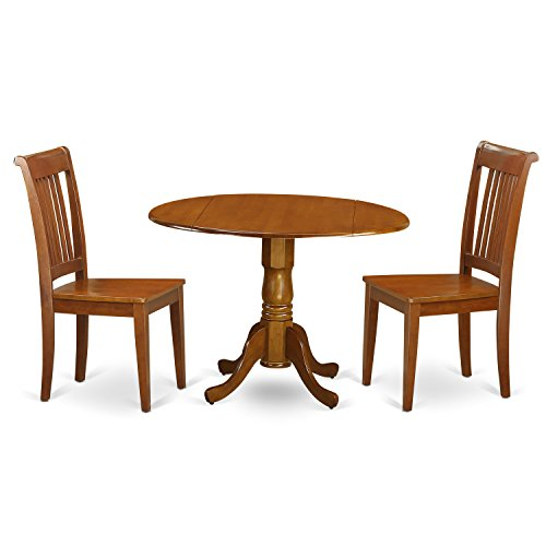 East West Furniture DLPO3-SBR-W 3-Piece Round Kitchen Table, Saddle brown Finish