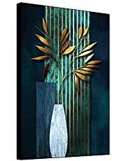 shensu Framed Canvas Wall Art Simple Abstract Vase Plants Prints Gold Leaves Dark Green Texture Gorgeous Wall Decor for Living Room Bedroom Bathroom Kitchen Office 12x18inch Modern Home Decoration
