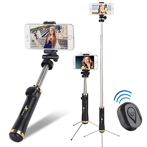 Evanee Extendable Selfie Stick with Removable Bluetooth Remote Selfie Stick Tripod for iPhone X/8/8 Plus/7/7 Plus Samsung Galaxy S9/S9 Plus/S8/S8 Plus/Note8 Huawei