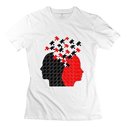 TEN-CI Women's Unique Cube Design Head T-shirt White S