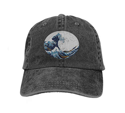 Cowboy Baseball Caps Unisex Trucker Style Hats Hokusai s Great Wave Kanagawa Adult Coloring Page Hokusai s Black