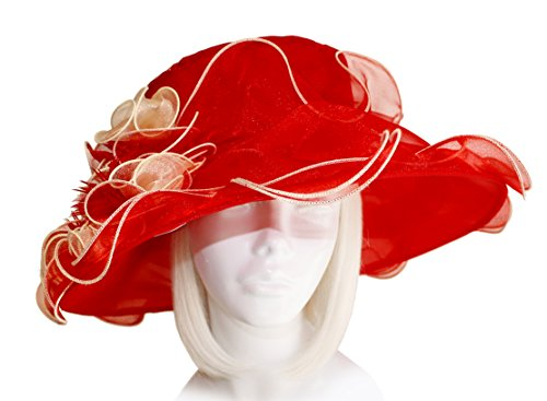 Mr. Song Millinery Derby/Ascot Crin & Organza All-Season Hat - DHC58 Red/Gold (Dresses Hat Red Society)