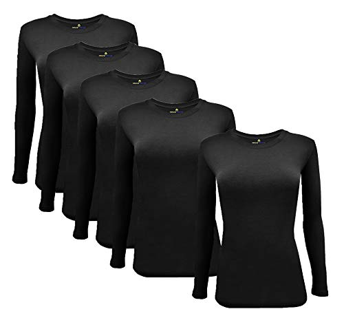 Natural Uniforms Women's Under Scrub Tee Crew Neck Long Sleeve T-Shirt 5-Multi Pack (X-Large, 5 Pack- Black)