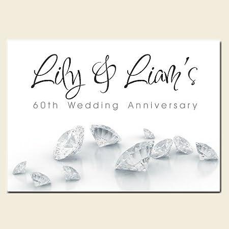 Personalised 60th Wedding Anniversary Invitations Diamonds Pack