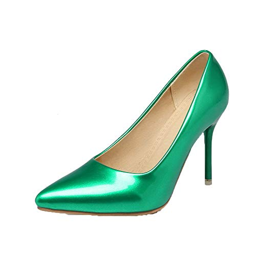 Donna Flats GMMDB006950 AgooLar Maiale Alto Tirare Verde Ballet Pelle Puro Tacco di fddqHB
