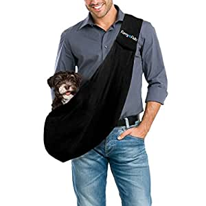 FurryFido Reversible Pet Sling Carrier for Cats Dogs up to 13+ lbs, Black