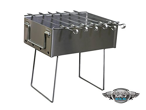 Stainless Steel Charcoal Grill Kebab BBQ 10x15 by Grill (Mini)