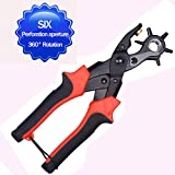 ECVISION Professional Leather Hole Puncher Plier-Revolving Multi-sized Round Tubes 2, 2.5, 3, 3.5, 4, 4.5 - Heavy Duty-Adjust Your Belt To Fit Your Figure - Quick, Easy!-Losing Weight! (black&red) (black&red)