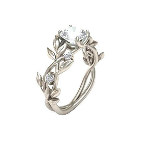 Auwer Clearance Rings, Women's Silver Floral Transparent Diamond Flower Vine Leaf Rings Engagement Wedding Rings Ladie's Jewelry Gift (US :6, Silver 2)