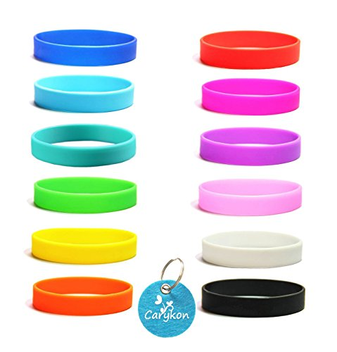 Carykon 12 Pcs Blank Silicone Wristbands Rubber Bracelets Adults Fashion Party Sports Accessories, Assorted 12 ()