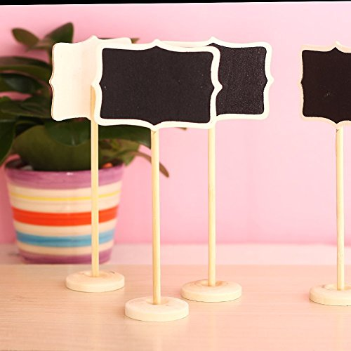 Kubert® Hot Sale 12 Mini Retangle Chalkboard Blackboard with Stand Wedding Party Table Numbers Place Card Favor Tag Plant Marker For Dessert Table Wedding Decor