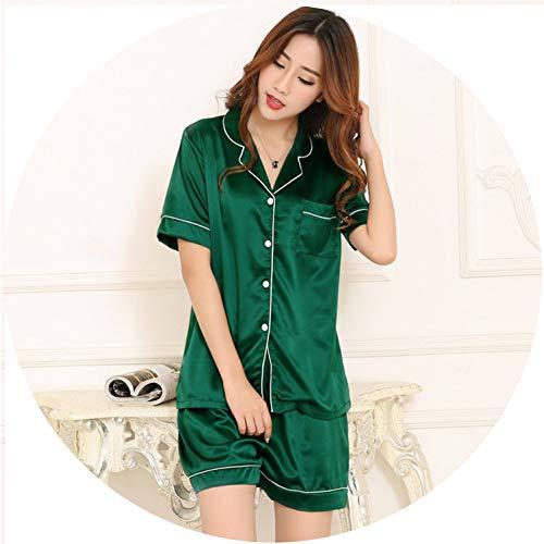 Show-Show-Fashion Womens Silk Satin Pajamas Pyjamas Set Long Sleeve Sleepwear Pijama Pajamas Suit Female SLE,st Green,L