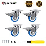 SPACECARE 4 Pack of 2' Swivel Caster Blue Polyurethane Wheels Base with Brake Top Plate Double Ball