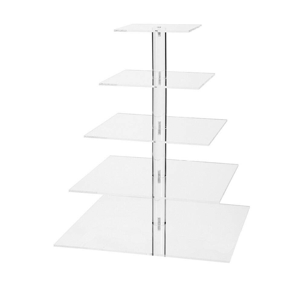 5 Tier Cake Stand, Square Acrylic Hand Polished Cupcake Dessert Wedding Party Display Plate Tower (US Shipping)