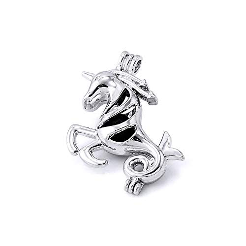 Silver Color Locket 10x Unicorn Shaped Pearl Cage Pendant Essential Oil Diffuser