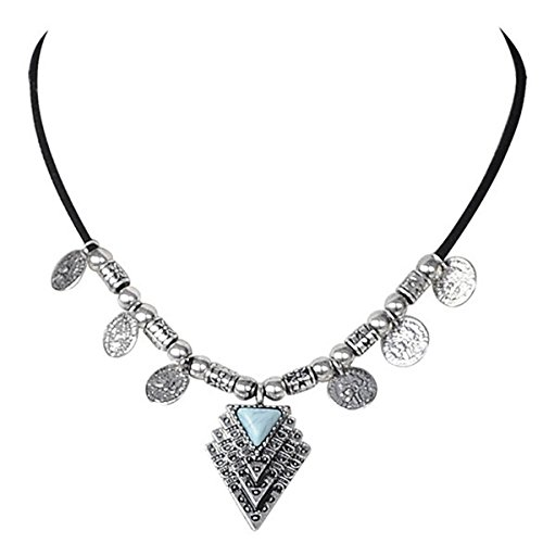 r Necklace with Alloy Arrow Pendant and Turquoise Inlay (Stacked triangle-Silver) (Triangle Turquoise Inlay)