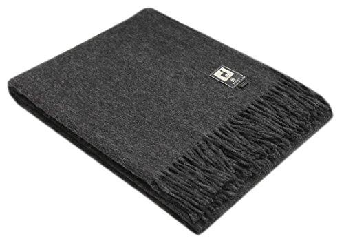Fringed Merino Wool Throw - Superfine Natural Alpaca Yarn & Merino Wool Woven Blanket Fringed Throw (Charcoal Gray)