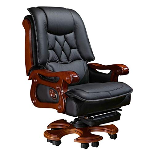 Geng Luxury Office Chair, Business Home Office Chair Reclining Computer Chair Leather Boss Chair Swivel Chair Executive Chair (Color : Cowhide Material, Size : Black)